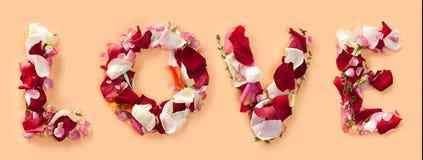L'amour de mot fait de roses Images libres de droits