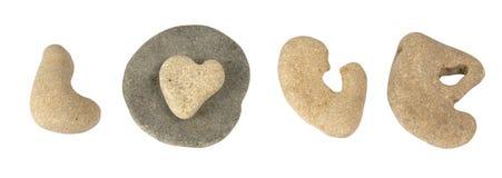 L'amour de mot présenté des cailloux de mer Images libres de droits