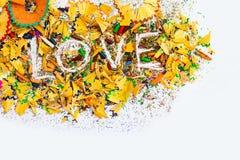 L'amour de mot sur le fond blanc Image libre de droits
