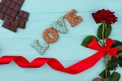 L'amour de Word des biscuits et a monté Image stock