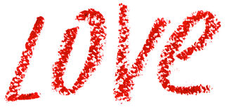 L'AMOUR de Word est écrit avec le rouge à lèvres. D'isolement sur le blanc Photo libre de droits