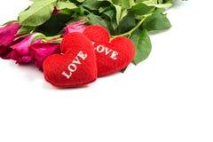 l'amour des textes de coeur de forme et a monté Images stock