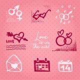 L'amour des textes de motivation de petit morceau de carte ou d'invitation de jour de valentines est dans le ciel r illustration stock