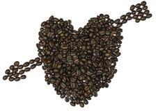 L'amour du coeur est fait de grains de café Images libres de droits