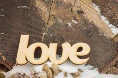 L'amour en bois se connectent la texture en bois Photographie stock libre de droits