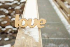 L'amour en bois se connectent la texture en bois Image stock