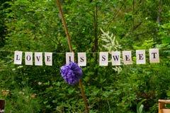 L'amour est bannière douce Photos stock