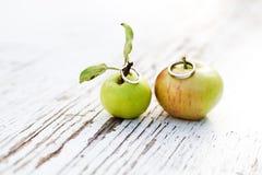 L'amour est dans la pomme, anneaux de mariage photographie stock libre de droits