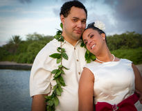 Nouveaux mariés polynésiens Photo stock