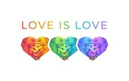 L'amour est amour Illustration d'arc-en-ciel de mois de fiert? avec les cam?l?ons mignons photographie stock libre de droits