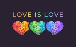 L'amour est amour Illustration d'arc-en-ciel de mois de fiert? avec les cam?l?ons mignons images libres de droits