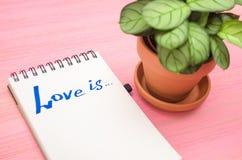 L'amour est inscription en page de papier de bloc-notes Photographie stock