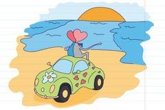 L'amour est… marqueur de rose sur le fond blanc Dessin du ` s d'enfants sur le carnet d'école Jour du ` s de St Valentine Fond po Images libres de droits