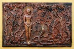 L'amour gagne toujours la colère et la haine : Bhagavan Mahavira éclaire un Candkausika toxique mortel Photographie stock libre de droits