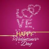 L'amour heureux de jour de valentines tient le premier rôle le fond rose Photo stock