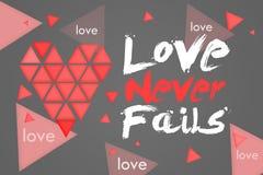 L'amour n'échoue jamais le fond foncé Image stock