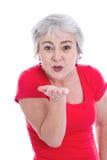 L'amour ne connaît aucun âge - femme avec la bouche de bouton de rose Photo stock