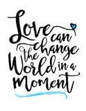 L'amour peut changer le monde dans un moment illustration stock