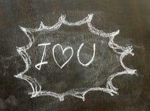 L'amour u du mot i dans le signe de bulle Images libres de droits