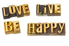 L'amour vivant soit impression typographique heureuse Photographie stock libre de droits