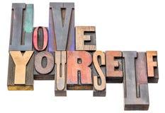 L'amour vous-même - exprimez le résumé dans le type en bois Images stock