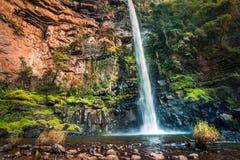 L'ampia vista di insenatura sola cade il Sudafrica; un waterfal sottile alto Fotografia Stock