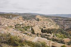 L'ampio pano ha sparato di Alquezar, nella regione spagnola l'Aragona Immagine Stock Libera da Diritti