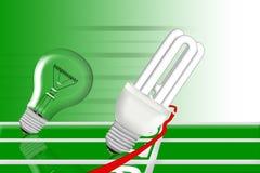 L'ampoule économiseuse d'énergie est winng le chemin. illustration de vecteur