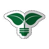 L'ampoule avec des feuilles a isolé l'icône illustration libre de droits