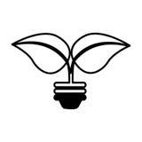L'ampoule avec des feuilles a isolé l'icône illustration de vecteur