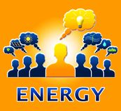L'ampoule d'énergie signifie l'illustration d'Electric Power 3d Image stock