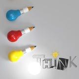 L'ampoule 3d de crayon et le mot PENSENT de conception Photographie stock