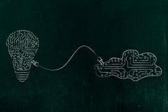 L'ampoule et le nuage faits de circuits électroniques se sont reliés à l'eac Photo libre de droits