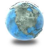 L'Amérique du Nord sur la terre de marbre de planète Images stock