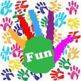 L'amusement d'enfants signifie Handprints vibrant et humain Images libres de droits