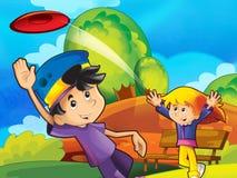 L'amusement de frisbee en stationnement Image libre de droits