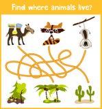 L'amusement et le jeu coloré de puzzle pour le développement d'enfants trouvent où des cerfs communs, une tamia rayée et un poiss Photos libres de droits
