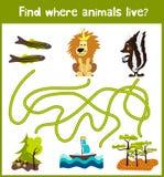 L'amusement et le jeu coloré de puzzle pour le développement d'enfants trouvent où des cerfs communs, une tamia rayée et un poiss Image stock