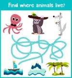 L'amusement et le jeu coloré de puzzle pour le développement d'enfants trouvent où des cerfs communs, une tamia rayée et un poiss Photo stock