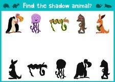 L'amusement et le jeu coloré de puzzle pour le développement d'enfants trouvent où des cerfs communs, une tamia rayée et un poiss Images stock