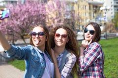 L'amusement hawing d'adolescentes heureuses passent le temps ensemble en parc de ville Image libre de droits