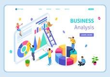 L'analisi commerciale isometrica della pagina di atterraggio del modello del sito Web, può usare per l'insegna di web Facile pubb illustrazione vettoriale