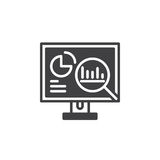 L'analisi dei dati, desktop pc con il vettore dell'icona dei grafici, ha riempito il segno piano, pittogramma solido isolato su b illustrazione di stock
