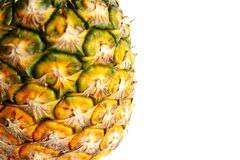 l'ananas a coupé l'isolat de photo de plan rapproché sur le fond blanc Images stock