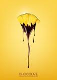L'ananas maturo affettato ha immerso in cioccolato fondente di fusione, la frutta, il concetto di ricetta della fonduta, traspare Fotografia Stock