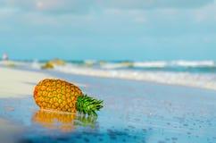 L'ananas sur la plage s'est reflété dans l'eau Photo stock