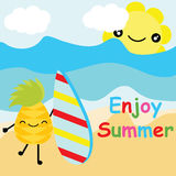 L'ananas sveglio vuole praticare il surfing sul fumetto di vettore della spiaggia, sulla cartolina dell'estate, sulla carta da pa Fotografia Stock