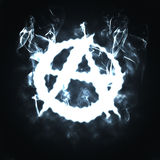 L'anarchia firma dentro il fumo Fotografia Stock Libera da Diritti