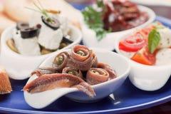 L'anchois roule avec la câpre Photos libres de droits