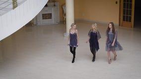 L'andatura vistosa delle giovani donne calde ha camminato attraverso il corridoio lussuoso del palazzo costoso del loro capo mode stock footage